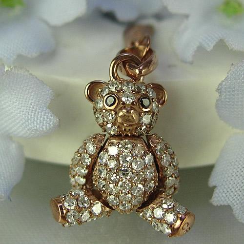 k18pg キラキラのダイヤモンドテディベア ペンダントジュエリー td01p