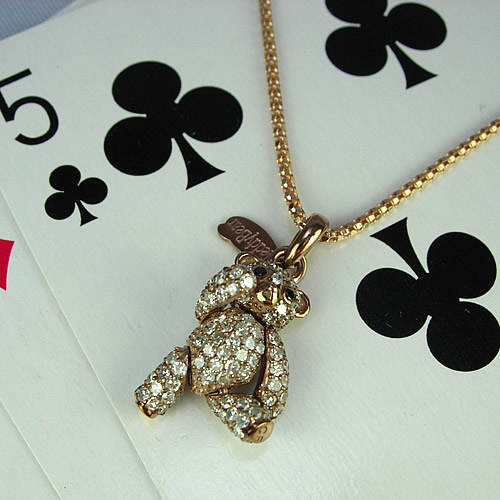 k18pg キラキラのダイヤモンドテディベア ペンダントジュエリー td01p 画像