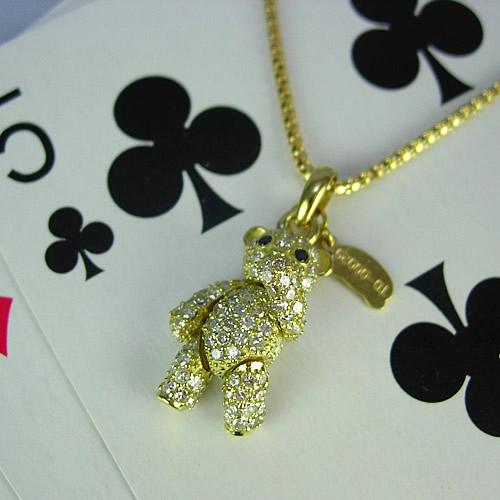 k18 キラキラのダイヤモンドテディベア ペンダントジュエリー td01y 画像