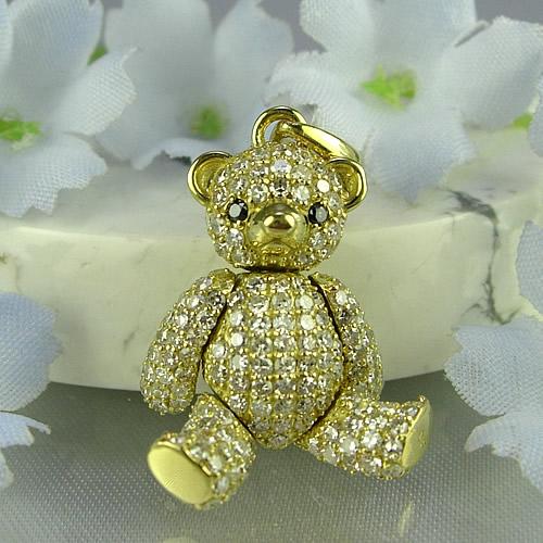 k18 キラキラのダイヤモンドテディベア ペンダントジュエリー td02y