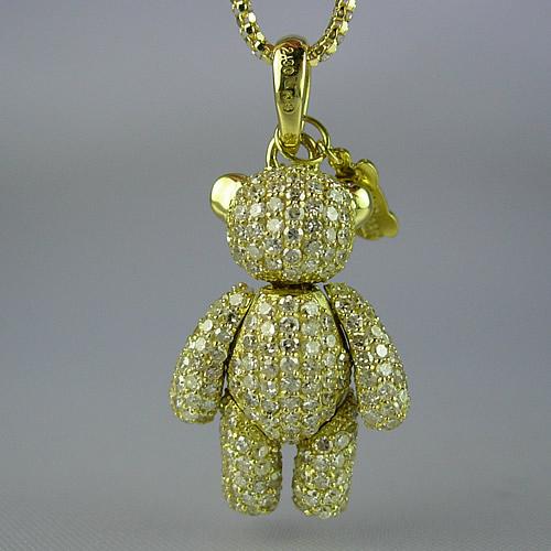 k18 キラキラのダイヤモンドテディベア ペンダントジュエリー td02y 画像