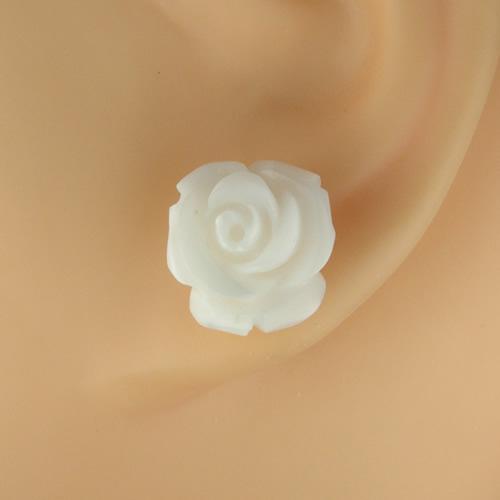 ラビアンローズ バラ彫り k18ホワイトサンゴ ピアスジュエリー va722 画像