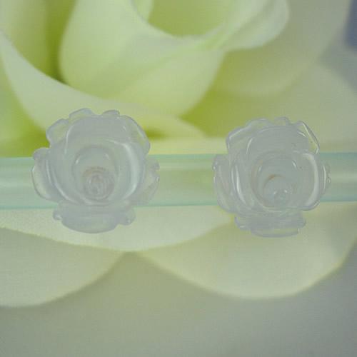 ラビアンローズ バラ彫り k18ブルーカルセドニー ピアスジュエリー va727