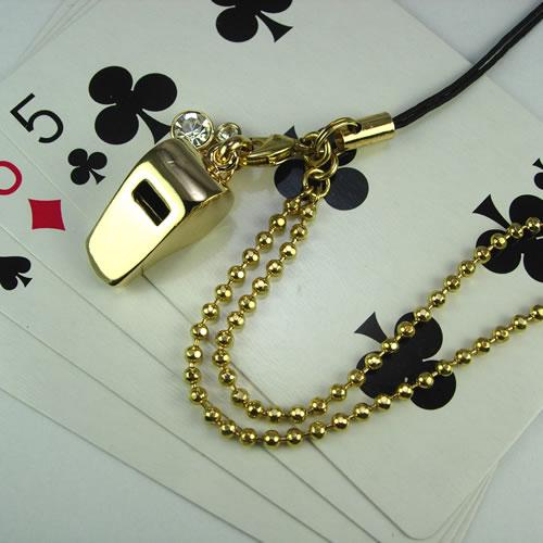 ゴールドホイッスル(Whistle Charm)ストラップ zp105g 画像